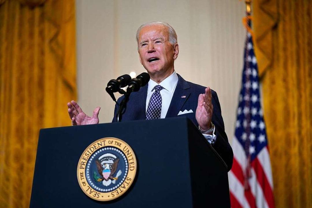 Joe Biden, Präsident der USA, spricht ...nchner Sicherheitskonferenz teilnimmt.  | Foto: Patrick Semansky (dpa)