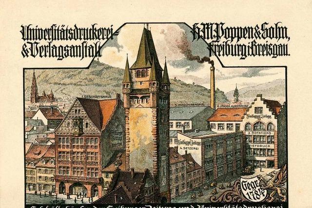 Historische Lithographie zeigt den Stammsitz der Freiburger Zeitung