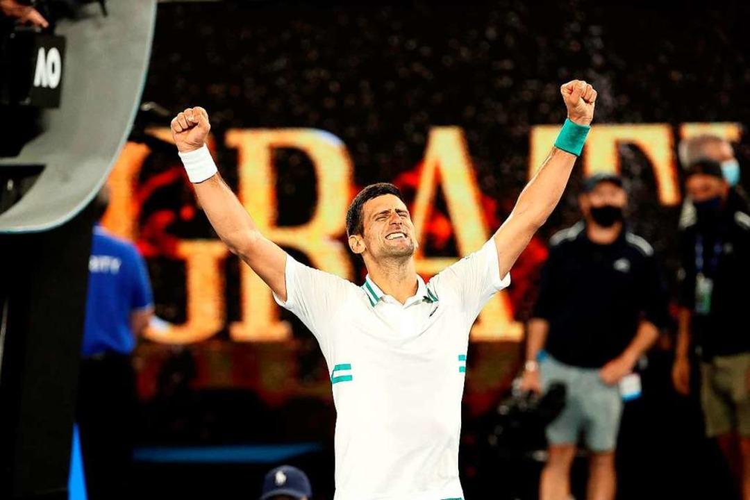 Novak Djokovic holt seinen 18. Grand-Slam-Titel.  | Foto: DAVID GRAY (AFP)