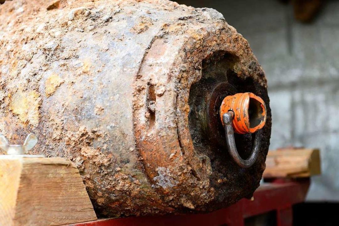 Diese Fliegerbombe wurde 2016 in Freiburg gefunden und entschärft.  | Foto: Ingo Schneider