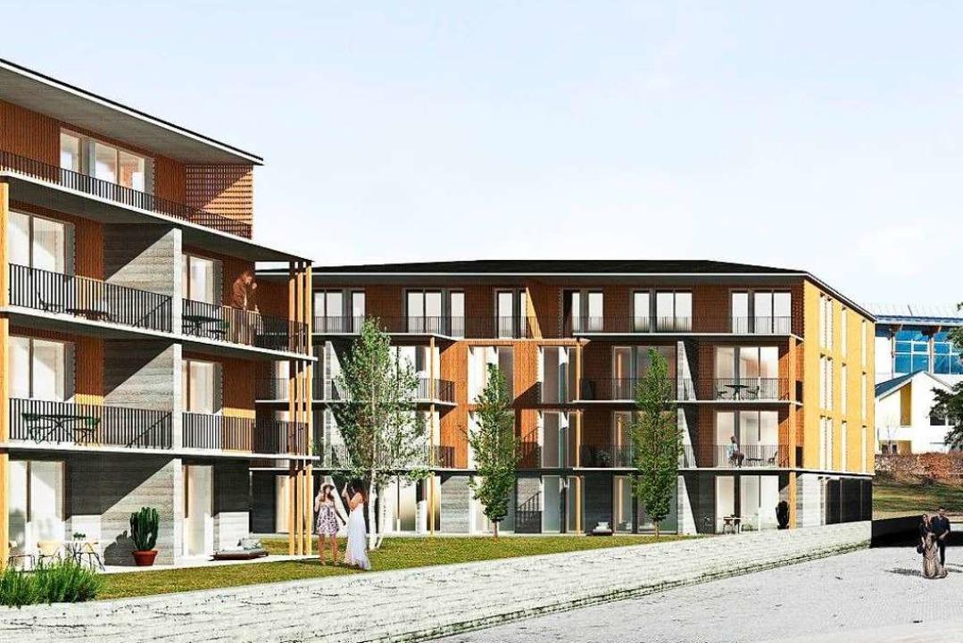 So sollen die Wohnhäuser auf dem Bauhofareal in Löffingen einmal aussehen.  | Foto: Architekten Köpfler