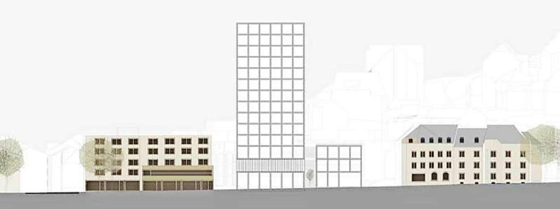 Planskizze für den Hochpunkt beim Engelplatz.    Foto: bächlemeid 2020