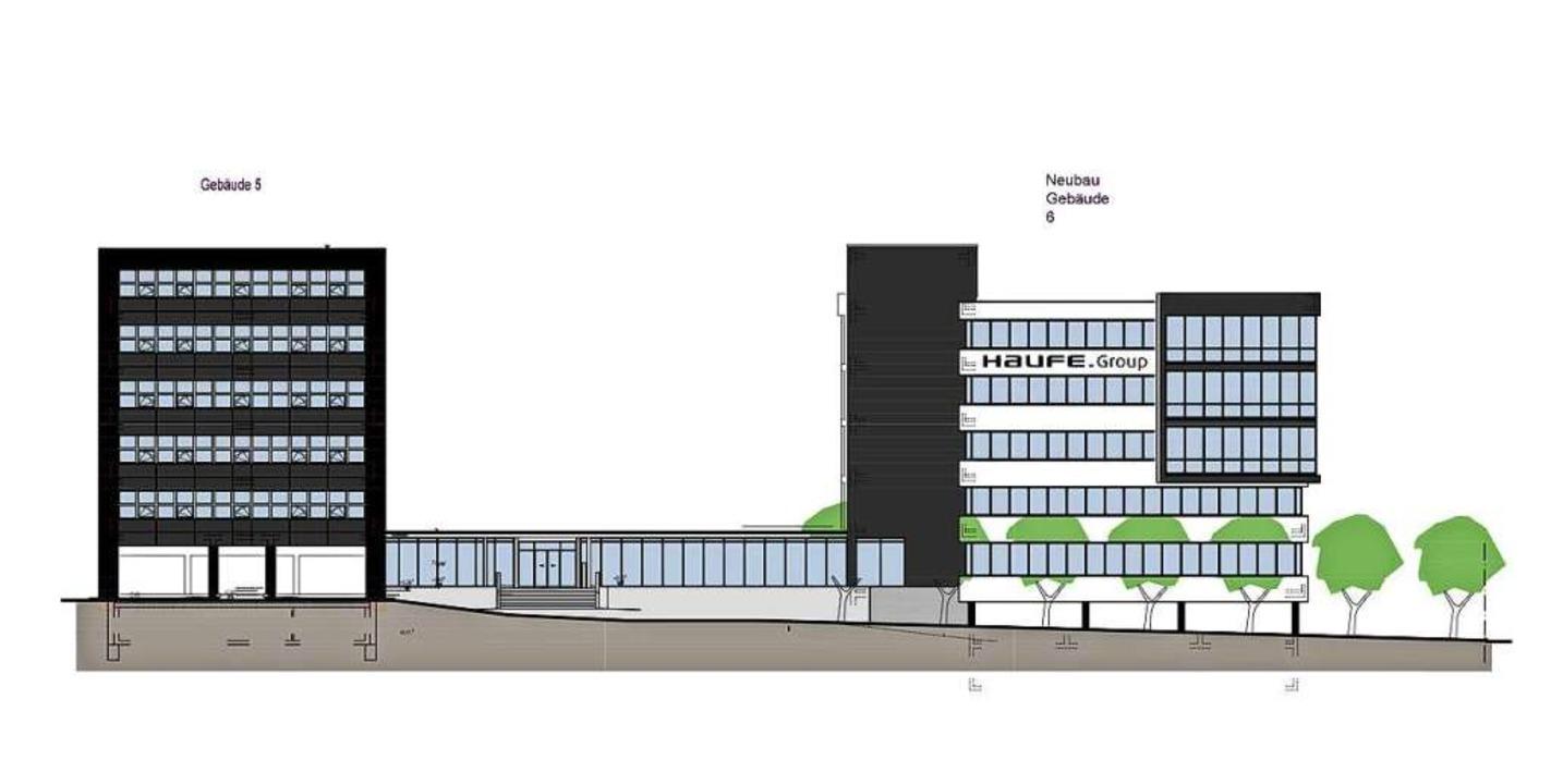 So soll der Neubau (rechts) nach Ferti...n Blick von der Munzinger Straße aus.   | Foto: Haufe Group