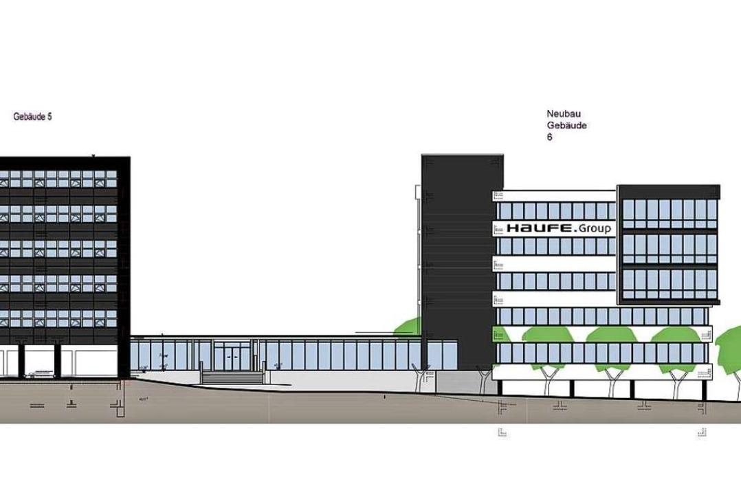 Der Neubau (rechts) von der Munzinger Straße aus gesehen.  | Foto: Haufe Group