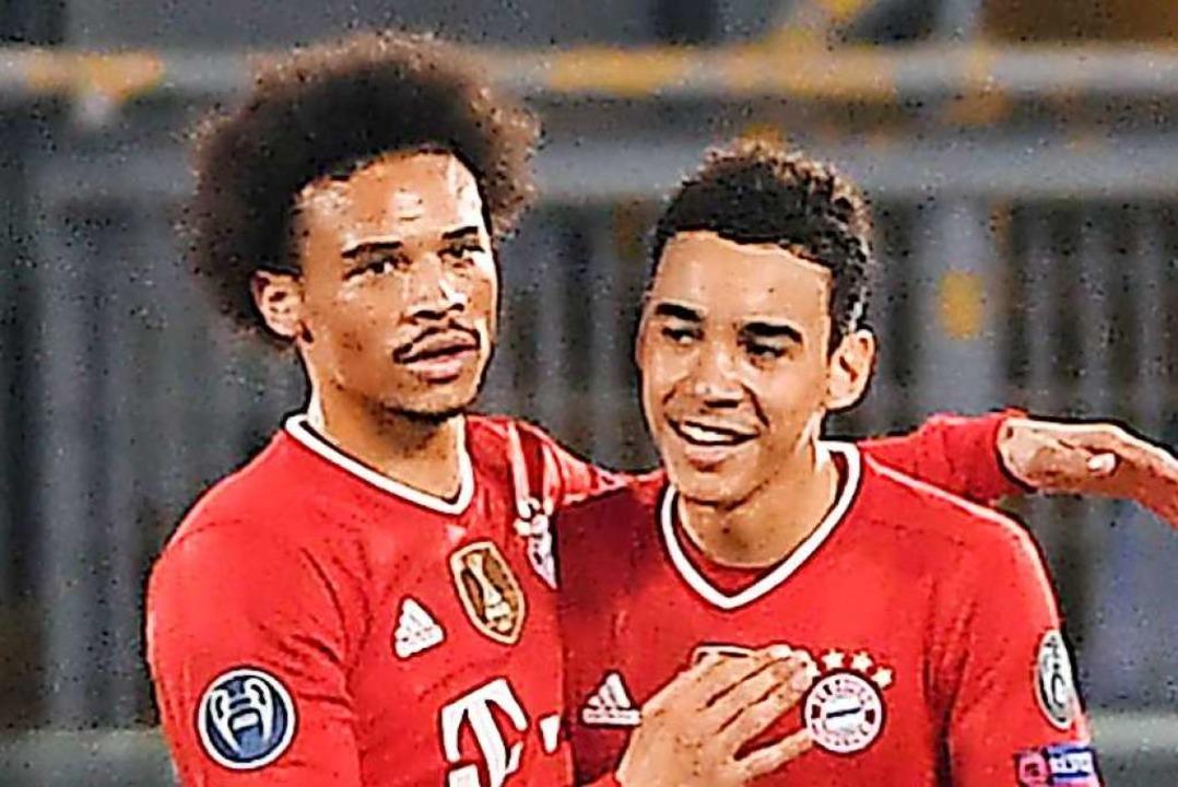 Erzielten jeweils ein Tor: Leroy Sané (links) und der 17-jährige Jamal Musiala  | Foto: Giuseppe Maffia (dpa)