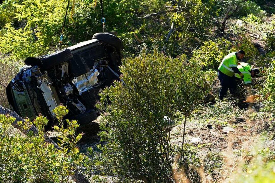 Der Wagen an der Unfallstelle  | Foto: Marcio Jose Sanchez (dpa)