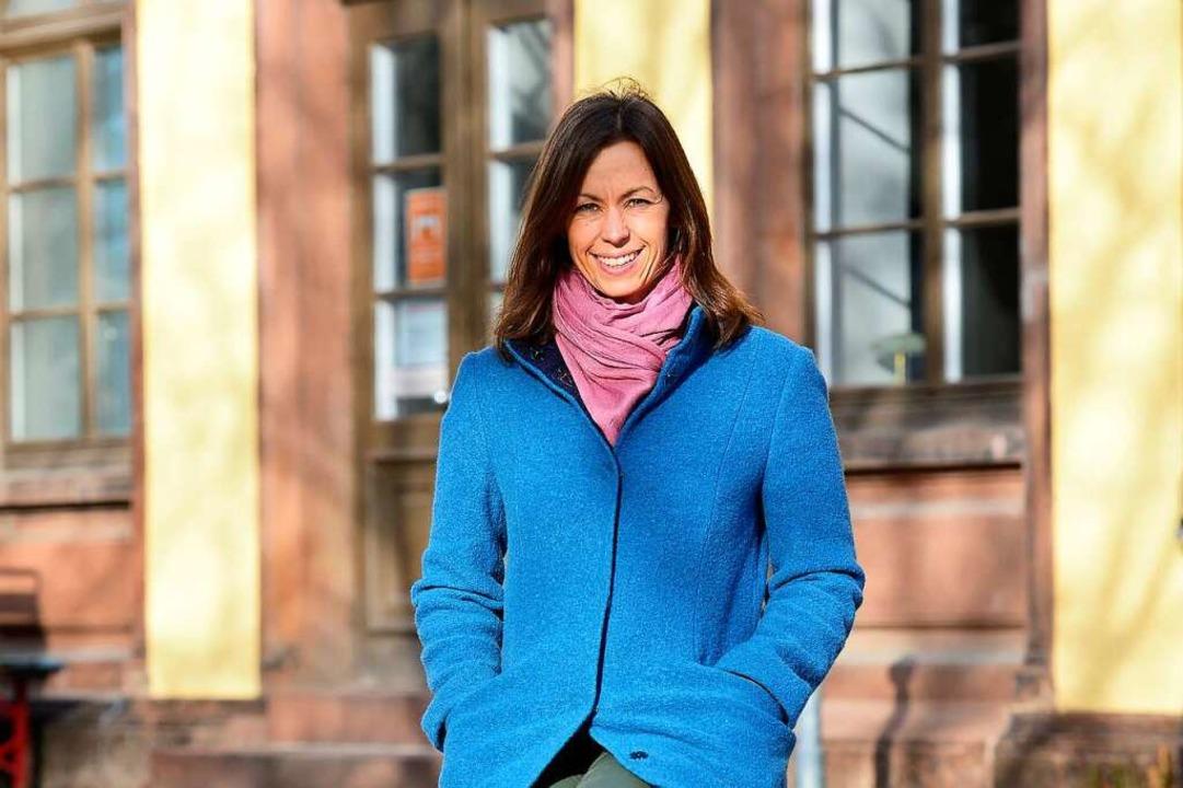 Jennifer Sühr am  alten Wiehrebahnhof  | Foto: Ingo Schneider