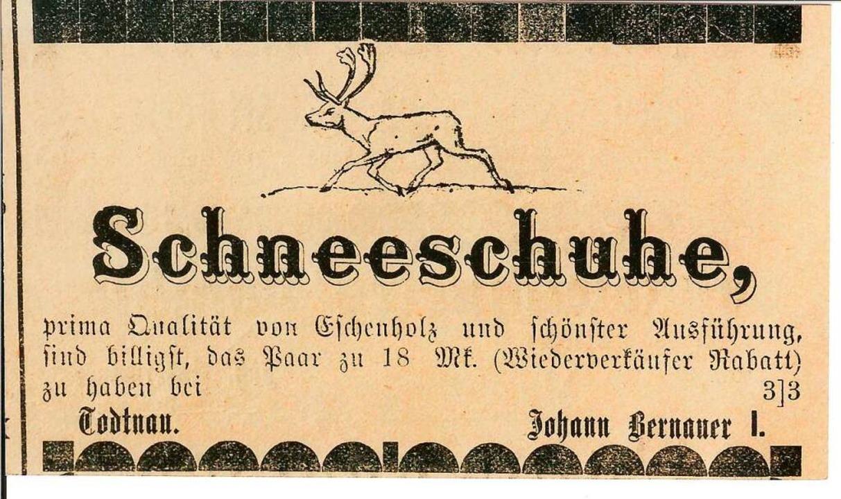 Anzeige des ersten Ski-Produzenten Bernauer von 1892  | Foto: Bednno Dörflinger