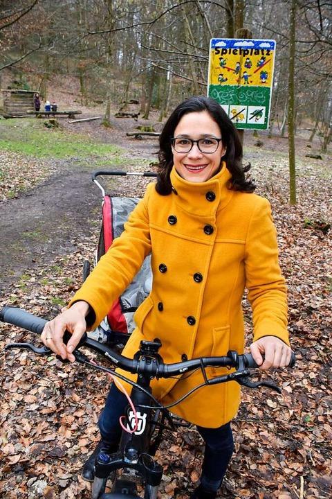 Nadyne Saint-Cast am Filibach-Spielplatz  | Foto: Thomas Kunz