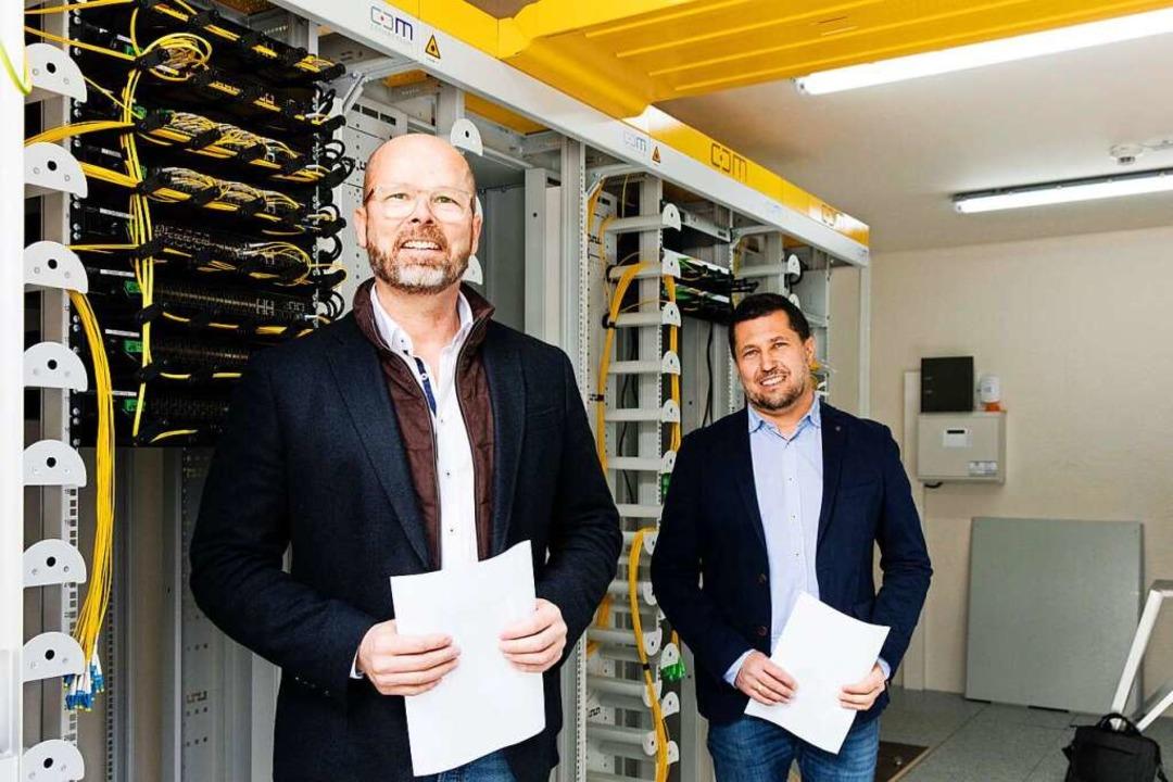 Blick in den Technikstandort Buchholz:...etz W-Net angeschlossen werden können.  | Foto: Gabriele Zahn