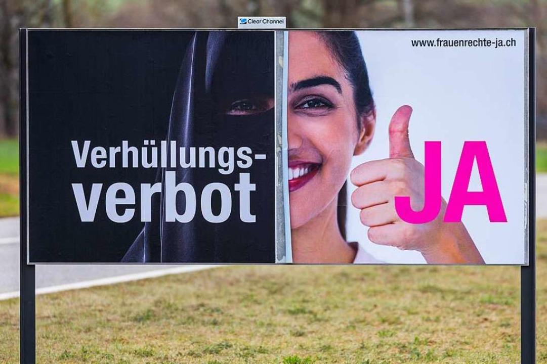 Plakat der Befürworter der Initiative   | Foto: Andreas Haas (imago-images.de)