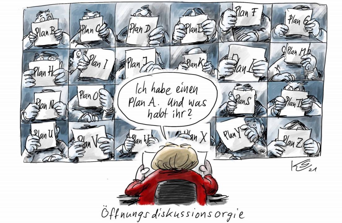 So stellt sich unser Karikaturist Klau...Länder-Treffen an diesem Mittwoch vor.    Foto: Klaus Stuttmann