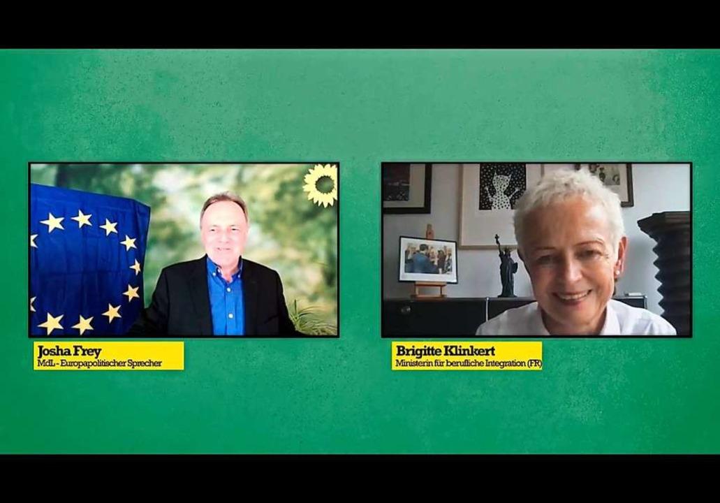 Landtagskandidat Joshua Frey  im virtuellen Gespräch mit Brigitte Klinkert  | Foto: Ansgar Taschinski