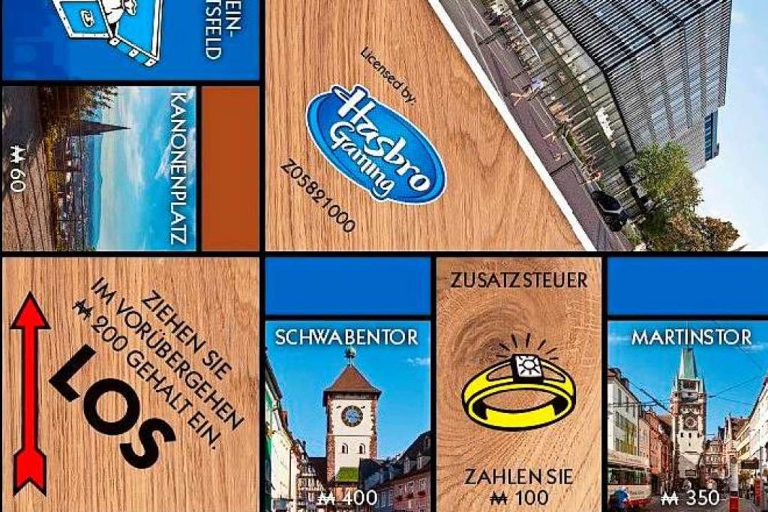 Besticht mit originellem Lokalkolorit: das Freiburg-Monopoly (Ausschnitt)    Foto: Dirk Chervatin