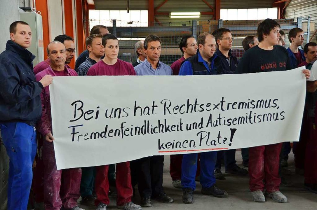 Gedenkminute der Belegschaft gegen rechte Gewalt (2013)   | Foto: Peter Stellmach