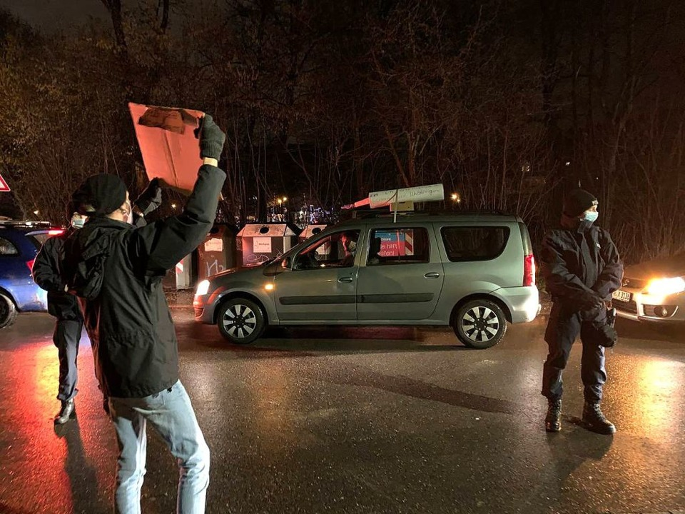 Ein Autokorso von Corona-Kritikern und...monstranten Anfang Februar in Freiburg    Foto: Sebastian Müller