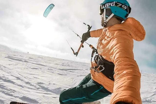 Snowkiten am Feldberg kommt dem Traum vom Fliegen sehr nah