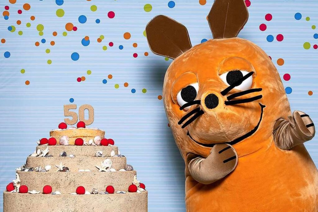Hoch die Tassen! Die Maus gibt zum 50. Geburtstag eine Sandtorte aus.    Foto: WDR