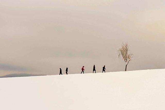 Unendliche Landschaft in schwarz-weiß bei Ötlingen