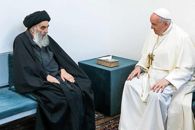 Papst trifft höchsten schiitischen Geistlichen im Irak und wirbt um interreligiöse Zusammenarbeit