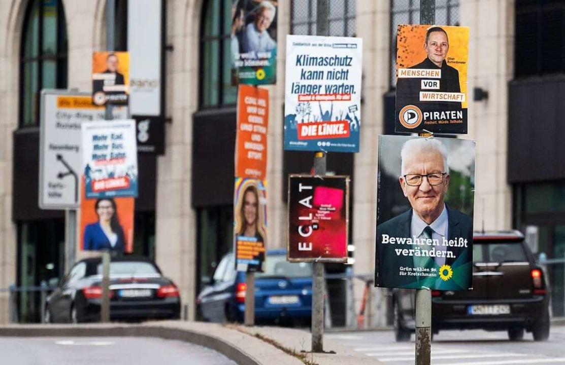 Es ist Wahlkampf in Baden-Württemberg:...onntag, 14. März, einen neuen Landtag.  | Foto: Marijan Murat (dpa)