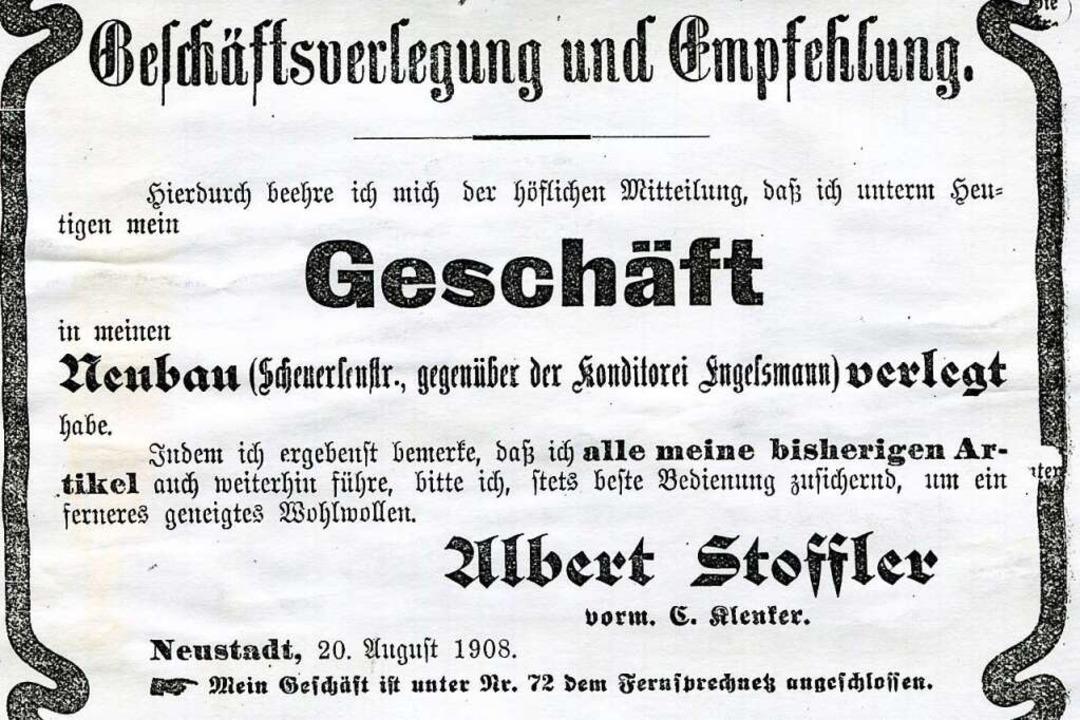 1907 gab Albert Stoffler den Standort ...ein neues Haus an der Scheuerlenstraße    Foto: Roland Weis
