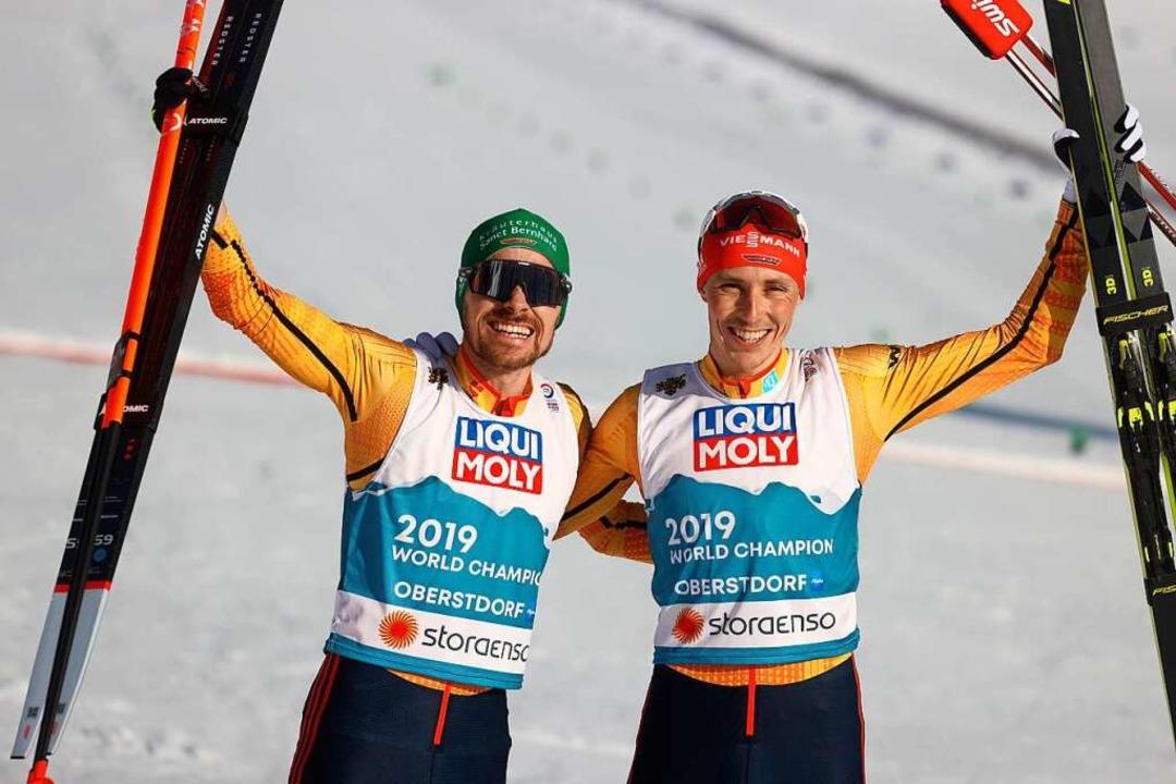 Alles gegeben: Fabian Rießle (links) u... über 2x7,5 Kilometer über WM-Bronze.   | Foto: Karl-Josef Hildenbrand (dpa)