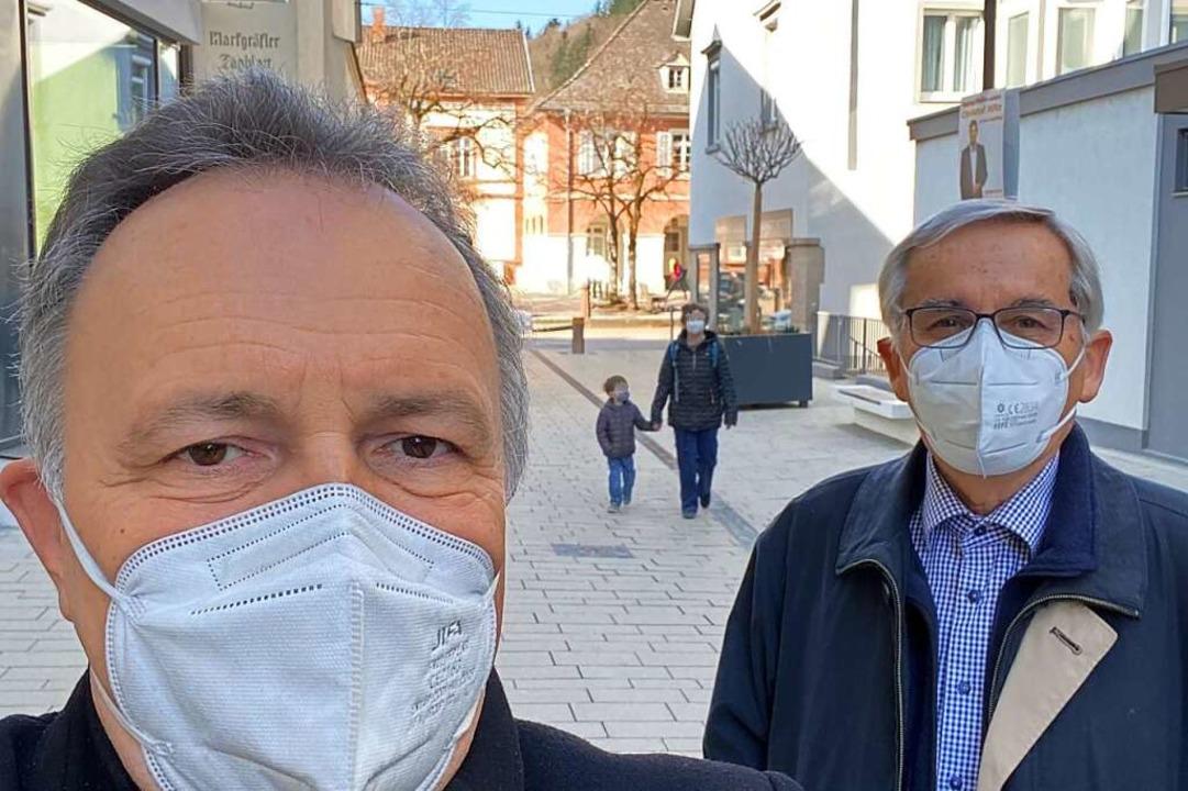 Josha Frey (links) und Uwe Gerber von der Innenstadt-Bürgerinitiative.    Foto: Wahlkreisbüro Josha Frey