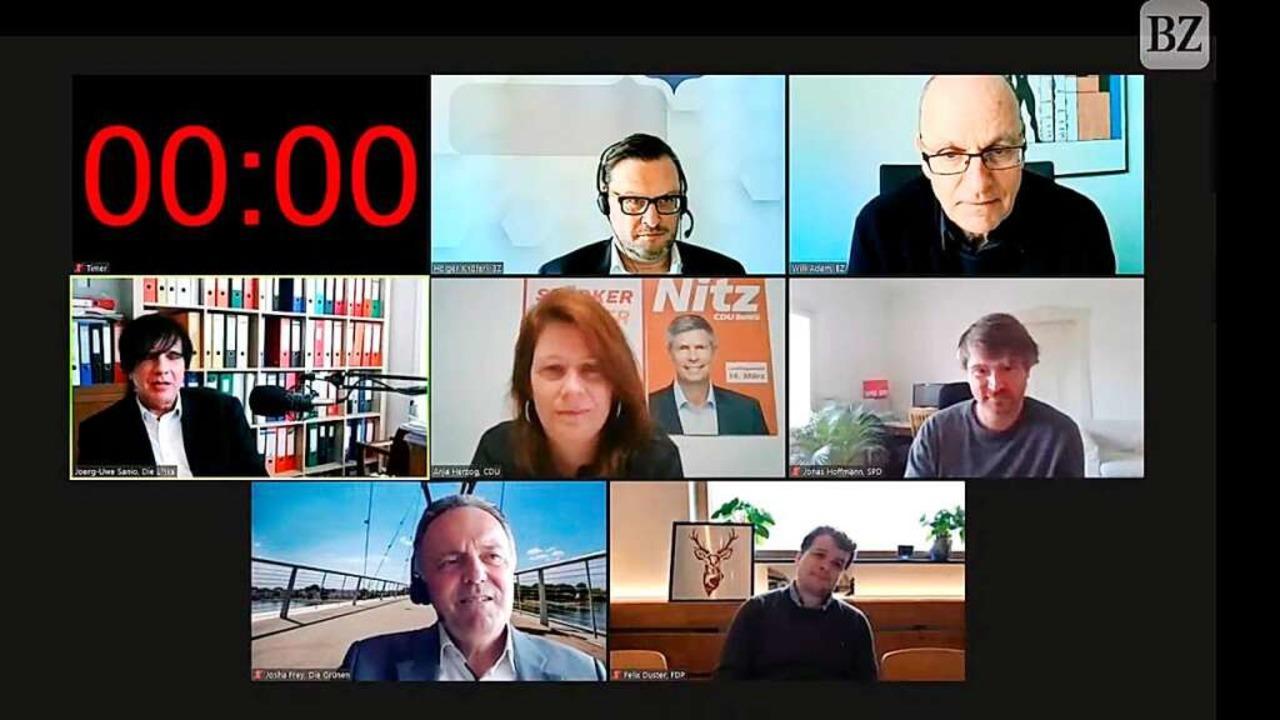 BZ-Talk mit Jörg-Uwe Sanio, Anja Herzo...olger Knöferl und Willi Adam (rechts).    Foto: Screenshot: BZ