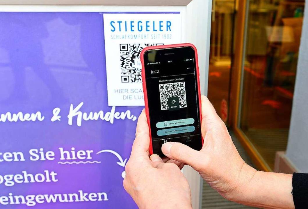 Die Luca-App, wie sie auf dem Smartphone erscheint  | Foto: Ingo Schneider
