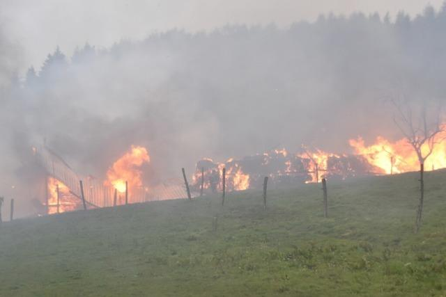 Die Halle eines Reiterhofs mit rund 500 Heuballen brennt in Karsau ab