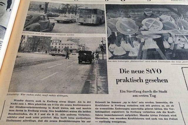 Mit den neuen Verkehrsregeln kamen die Freiburger im März 1971 ganz gut zurecht