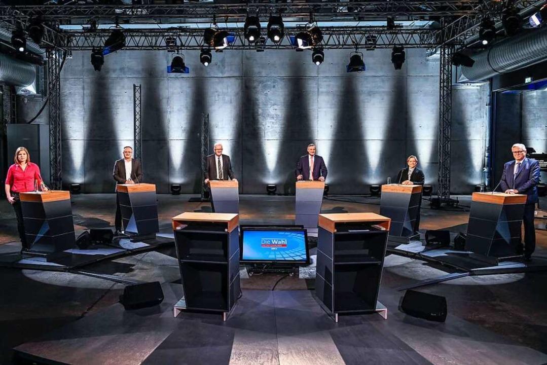Spitzenrunde vor den Landtagswahlen in Baden-Württemberg  | Foto: Patricia Neligan (dpa)