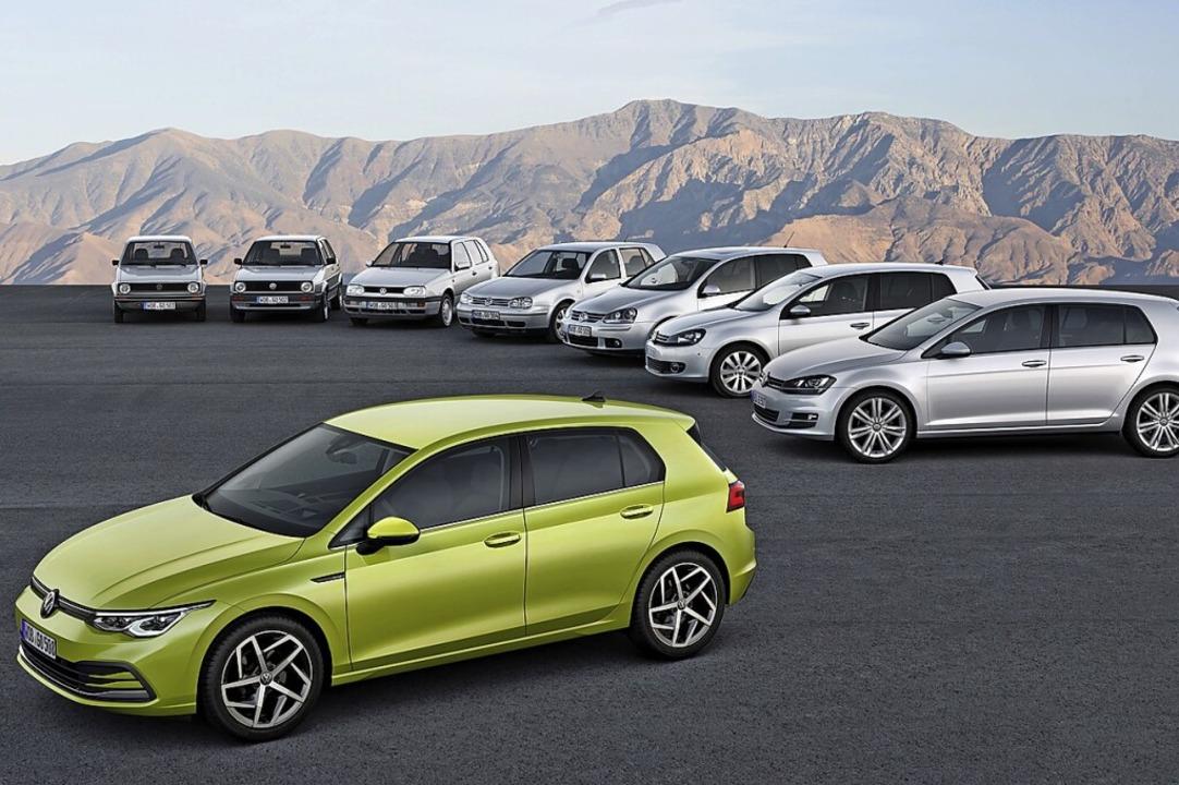Nichts ist so beständig wie der Wandel...m Beispiel die VW-Golf-Familie 1 bis 8    Foto: Volkswagen AG