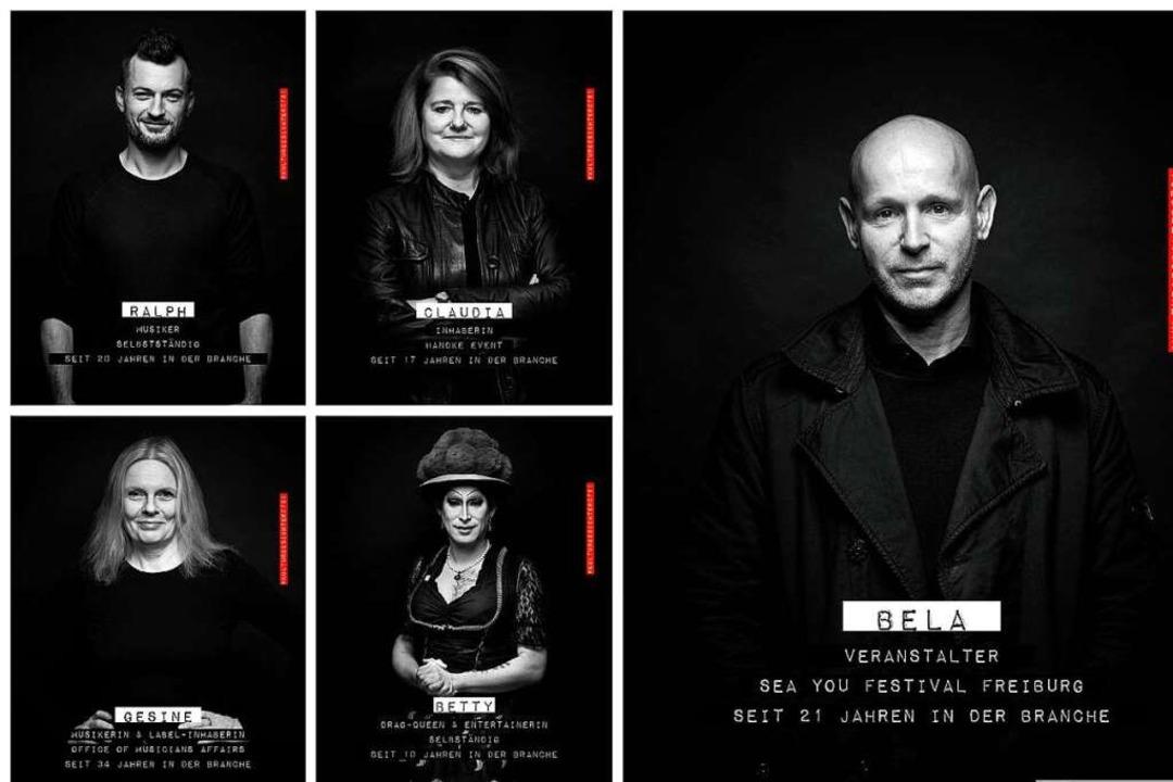 Fünf Vertreterinnen und Vertreter  der...rschaffenden berichten über ihre Lage.  | Foto: Felix Groteloh (Montage: fudder)