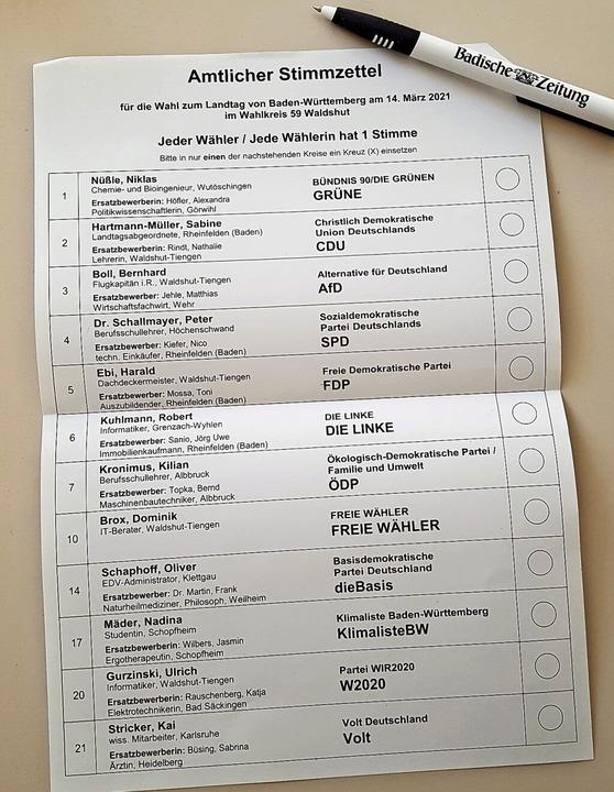 Die Wahl zwischen zwölf Parteien und i...r Landtagswahl im Wahlkreis Waldshut.   | Foto: Stefan Mertlik