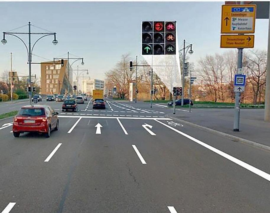 So soll die Straße am Ende aussehen. D...ituation allerdings nur grün leuchten.  | Foto: stadt freiburg