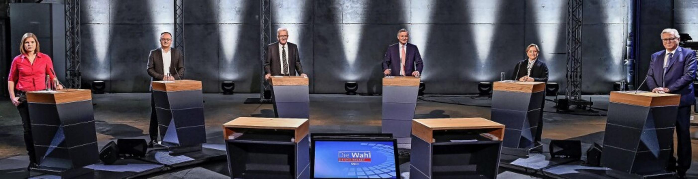 Sechs für den Südwesten: Die Spitzenka...isenmann (CDU) und Bernd Gögel (AfD).   | Foto: Patricia Neligan (dpa)