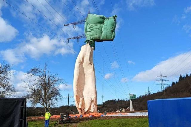 Spektakuläre Strommast-Sanierung in Schwörstadt