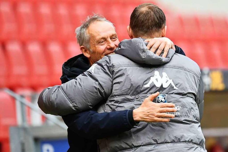 SC-Trainer Christian Streich und sein Mainzer Kollege Bo Svensson vor der Partie. (Foto: SC Freiburg/Achim Keller)