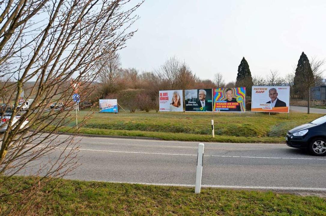 Am Wahltag standen diese Plakate am Kr...r, sie waren zerrissen und umgestürzt.  | Foto: Sophia Hesser