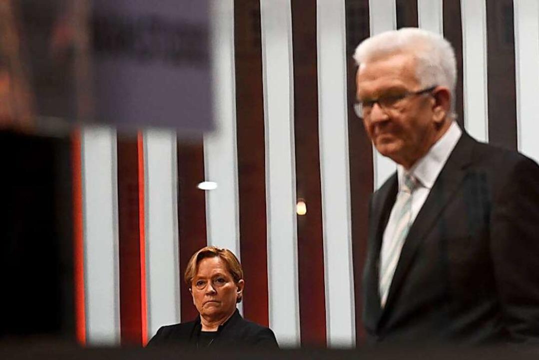 Ministerpräsident Winfried Kretschmann...rin Susanne Eisenmann am Sonntagabend.    Foto: Marijan Murat (dpa)