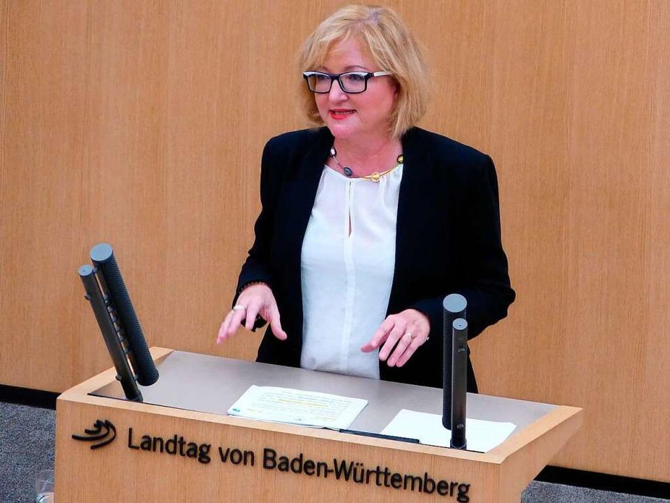 Sabine Hartmann-Müller im Stuttgarter Landtag    Foto: privat