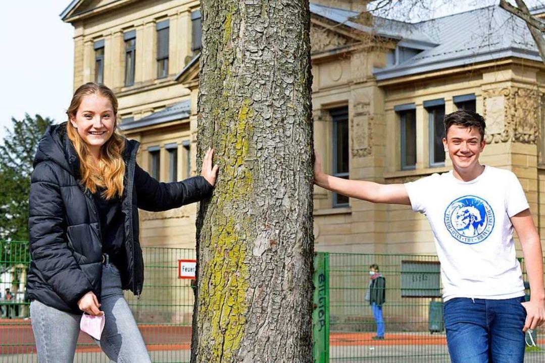 Maren Wießler und Paul Riegger von der Lessing-Realschule   | Foto: Michael Bamberger