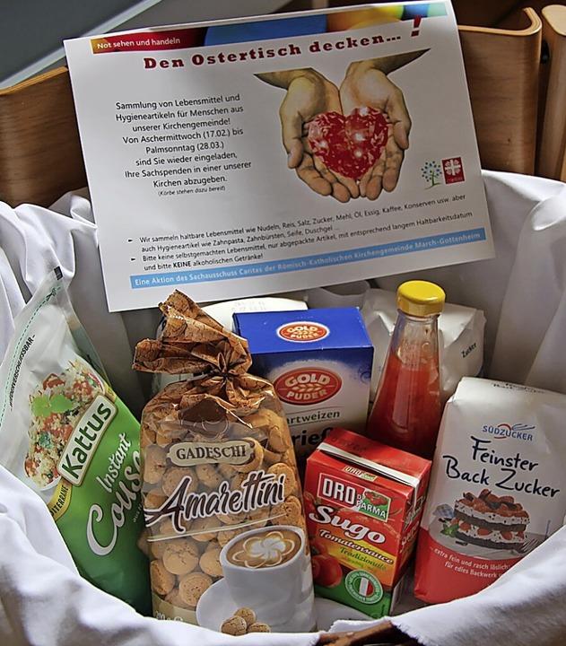 Sammelkorb für Lebensmittelspenden zu ...  in der Bötzinger katholischen Kirche    Foto: Horst David