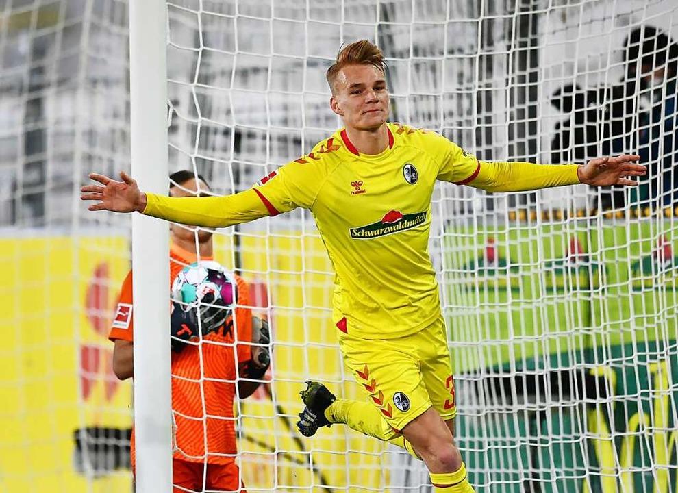 Philipp Lienhart erzielte mit seinem vierten Saisontreffer das 2:0.    Foto: SC Freiburg/Achim Keller