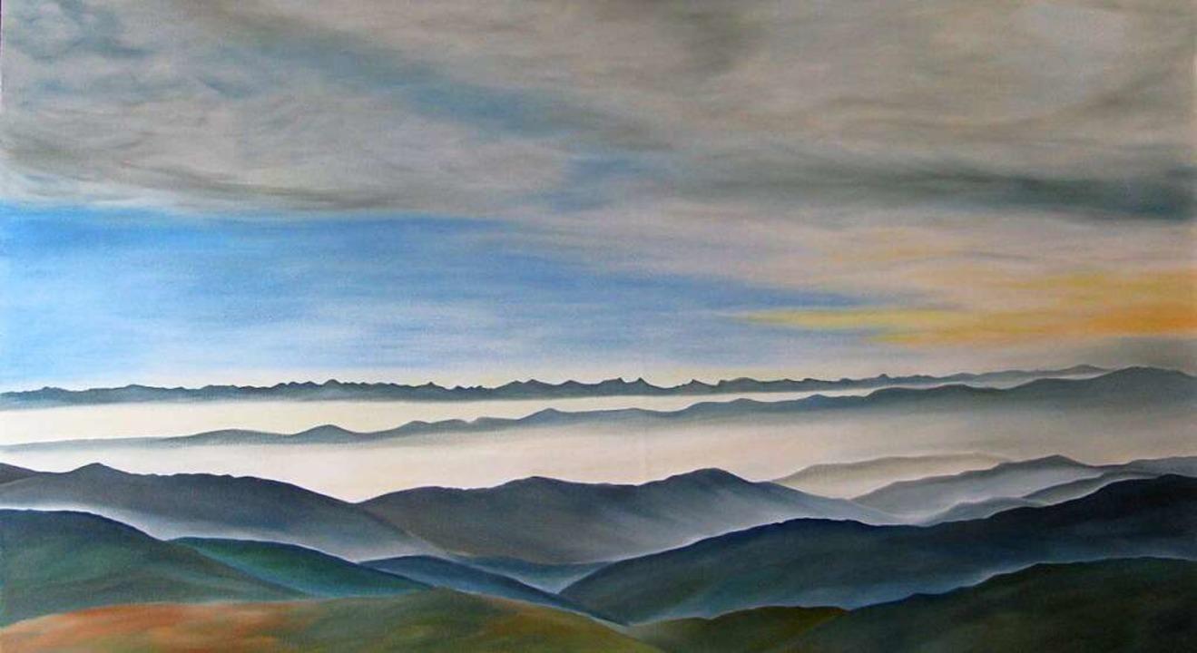 Auch ein Panorama mit Alpenblick vom B...st in der Freiluftgalerie ausgestellt.    Foto: Marita Brettschneider