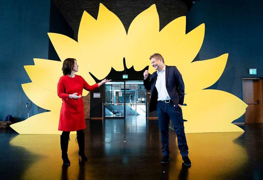 Die Bundesvorsitzenden der Grünen Anna...l vor einer riesigen Deko-Sonnenblume.    Foto: Kay Nietfeld (dpa)