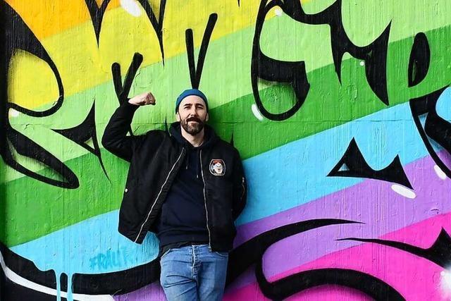 Der Graffitikünstler Boogie hinterlässt bunte Botschaften gegen den Hass