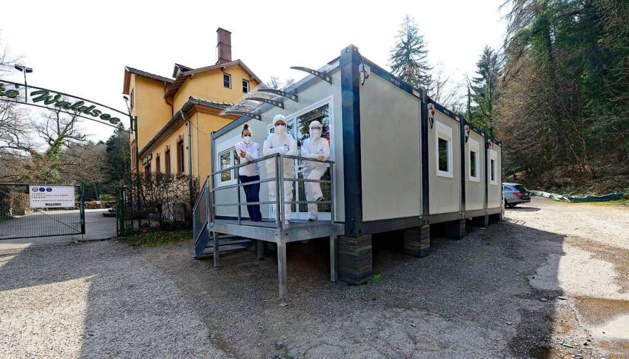 Das Testzentrum Waldsee verdoppelt sei...den Parkplatz der Gaststätte gestellt.  | Foto: Ingo Schneider
